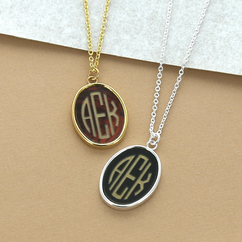 Acrylic Block Oval Monogram Pendant Necklace