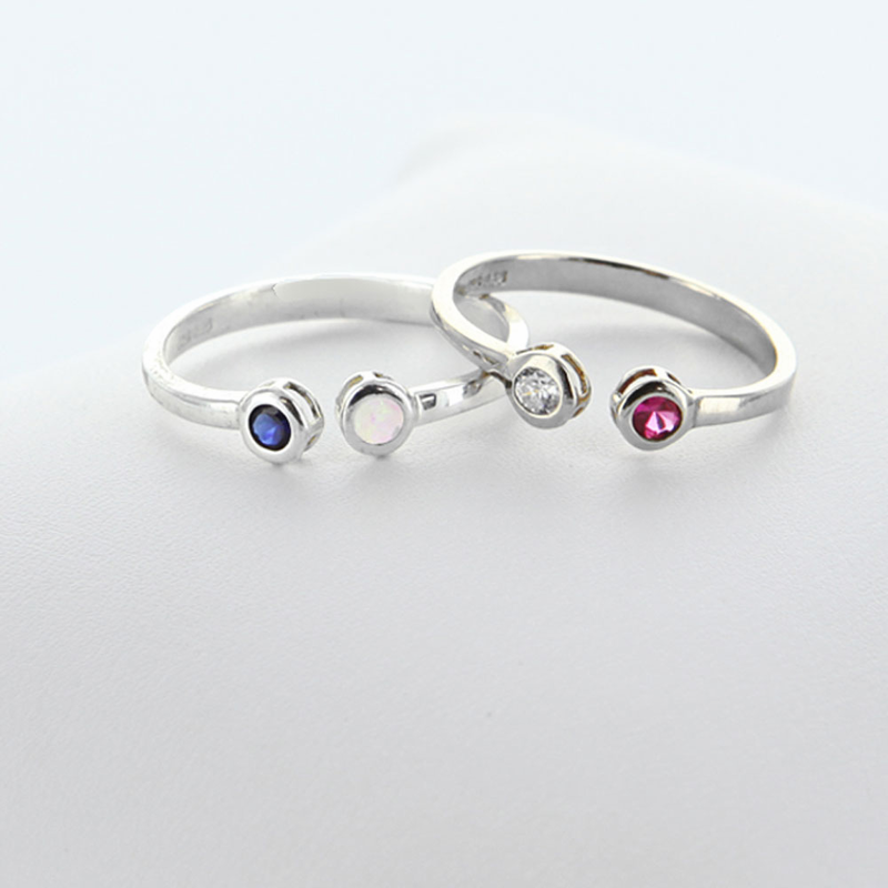silver dual make the sterling fashionable personal gift ring both birthstone necklace stone custom of set and perfect this two pin rings