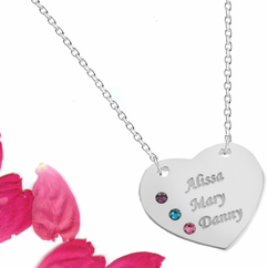 Personalized Heart Pendant with Swarovski Birthstones