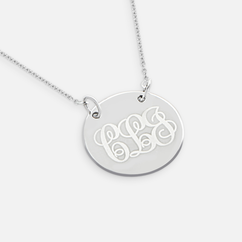 Engraved Monogram Circle Necklace in Silver
