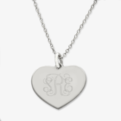 Sterling Silver Engraved Monogram Heart Necklace