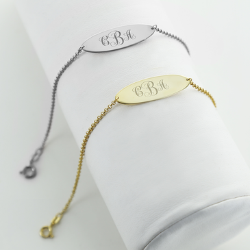 Engraved Monogram Oval Bracelet in Silver