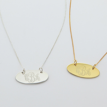 Engraved Monogram Oval Necklace in Silver