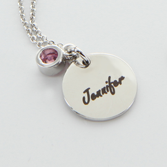 Engraved Name Circle Pendant with a Birthstone