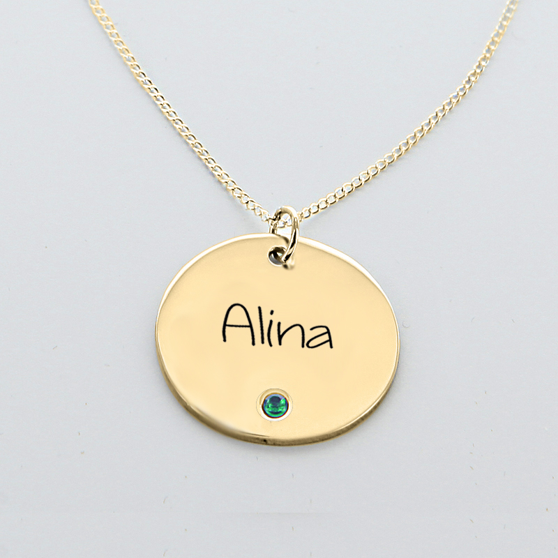 Engraved name circle pendant with birthstone in yellow gold over engraved name circle pendant with birthstone in yellow gold over silver aloadofball Gallery