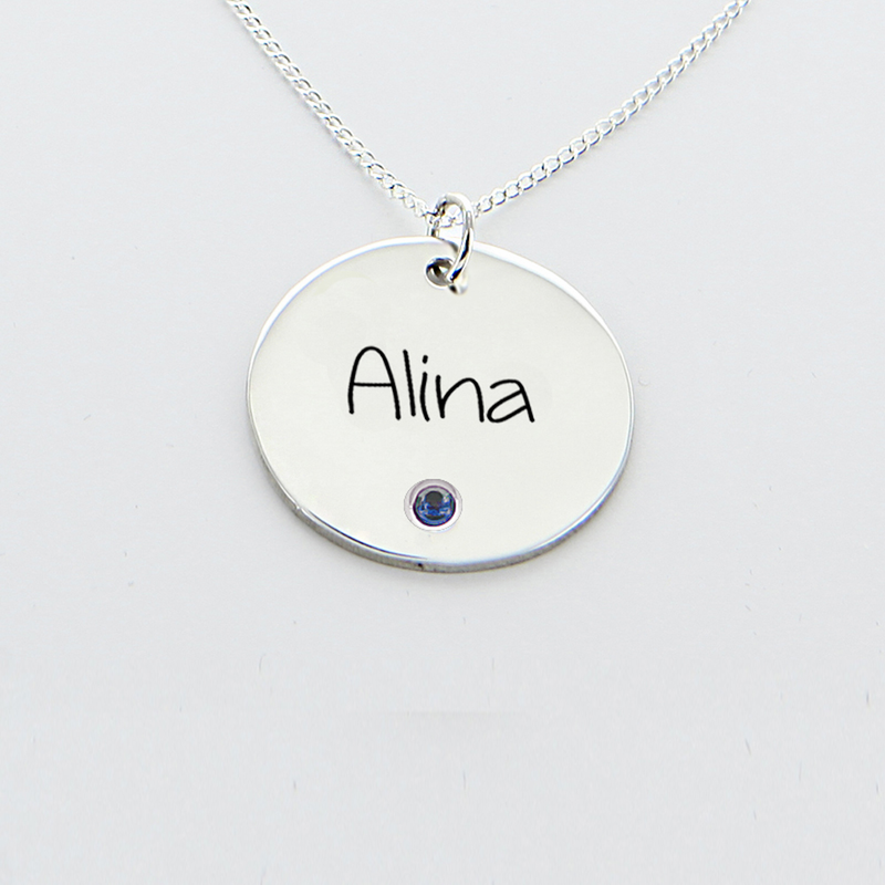 Name one circle pendant with birthstone in silver engraved name one circle pendant with birthstone in silver aloadofball Gallery