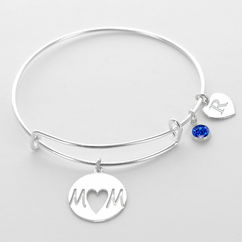 Initial Birthstone Mom Inspired Charm Bangle