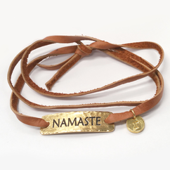 Leather Wrap Namaste Bracelet