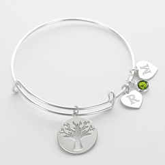 Family Tree Inspired Initial Birthstone Charm Bangle