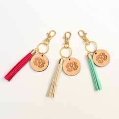 Monogram Wood Key Chain W/ Tassel