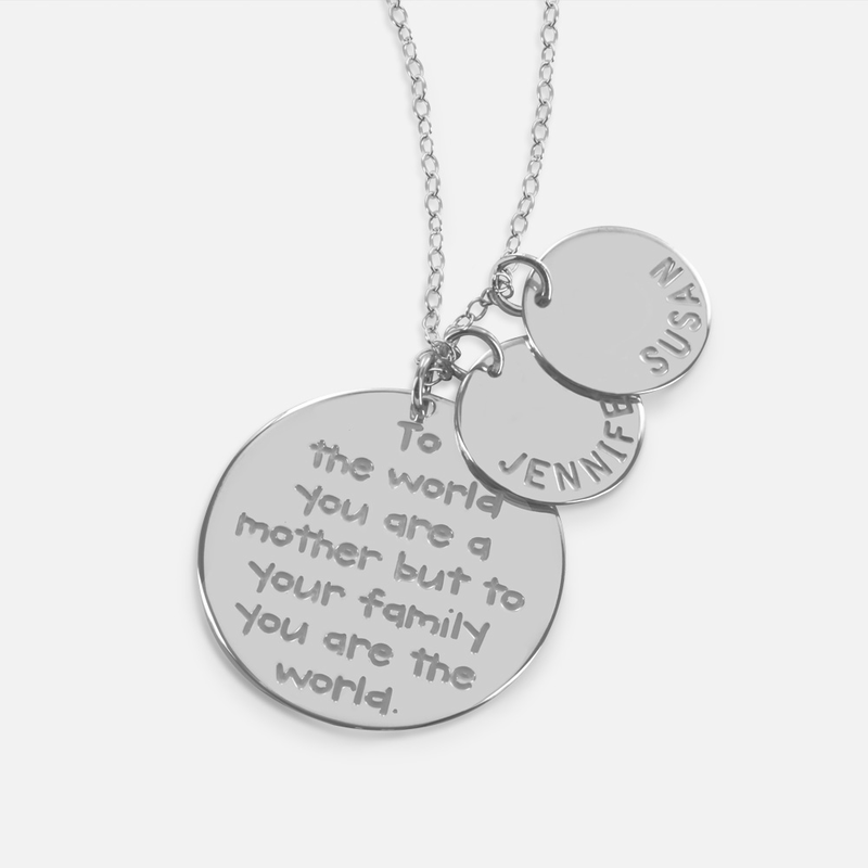 Mother\'s Necklace with Engraved Quote and Personalized with Kids Names