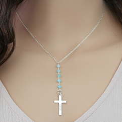 Natural Gemstone Personalized Silver Cross Necklace