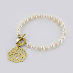 Pearl Bracelet with Yellow or Rose Gold Over Sterling Silver Monogram