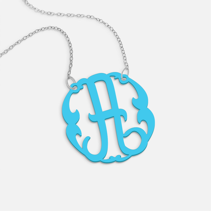 Personalized acrylic initial necklace for Acrylic letter necklace