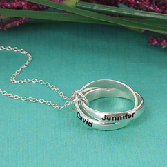 Personalized Couples Interlocking Rings Necklace in Sterling Silver