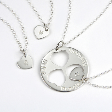 Personalized Family Necklace for Mom and Daughters (Set of Four Necklaces)