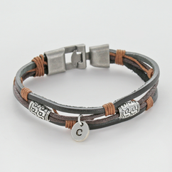Personalized Genuine Leather Bracelet and Antique Metal Finish
