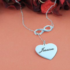 Personalized Infinity Necklace with Heart Charm
