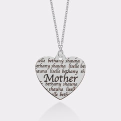 Personalized Mother's Heart Necklace in Color Finish