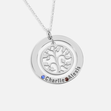 Personalized  Name Necklace with Swarovski Birthstones and Family Tree