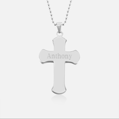 Personalized Round Edge Cross Necklace