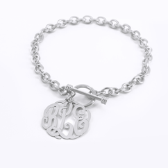 Personalized Toggle Bracelet with Script Monogram Charm