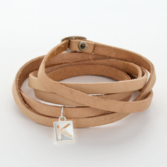 Personalized Wrap Beige Leather Bracelet
