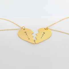 Personalized Yellow Gold over Silver Mizpah Necklace