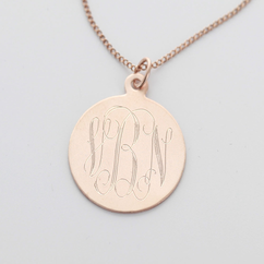 Rose Gold over Silver Engraved Monogram Necklace