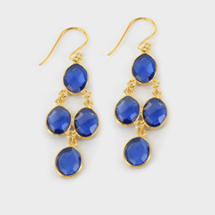 Semi Precious Dangling Earrings in Yellow Gold over Silver