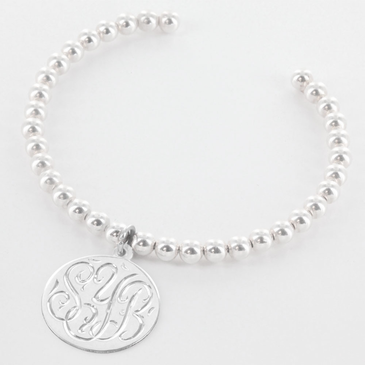 Silver Ball Bangle with Handengraved Monogram