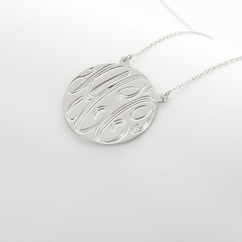 Silver Handmade Engraved Monogram Necklace