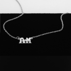 Silver Personalized Two Initial Necklace with Diamond Stone