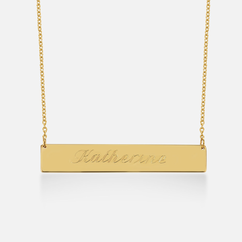 Solid Gold Nameplate Necklace - Name with Two Hearts Engraved