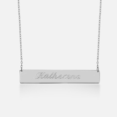 Sterling Silver Bar Necklace - Name Engraved in Script