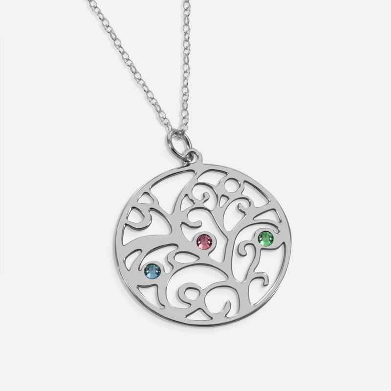 Silver birthstone family tree necklace sterling silver birthstone family tree necklace aloadofball Gallery