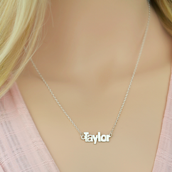 Sterling Silver Block Letter Name Necklace