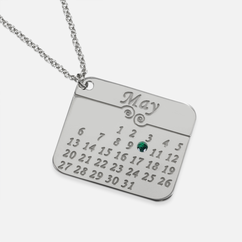 Sterling Silver Calendar Necklace Personalized with Swarovski Birthstone