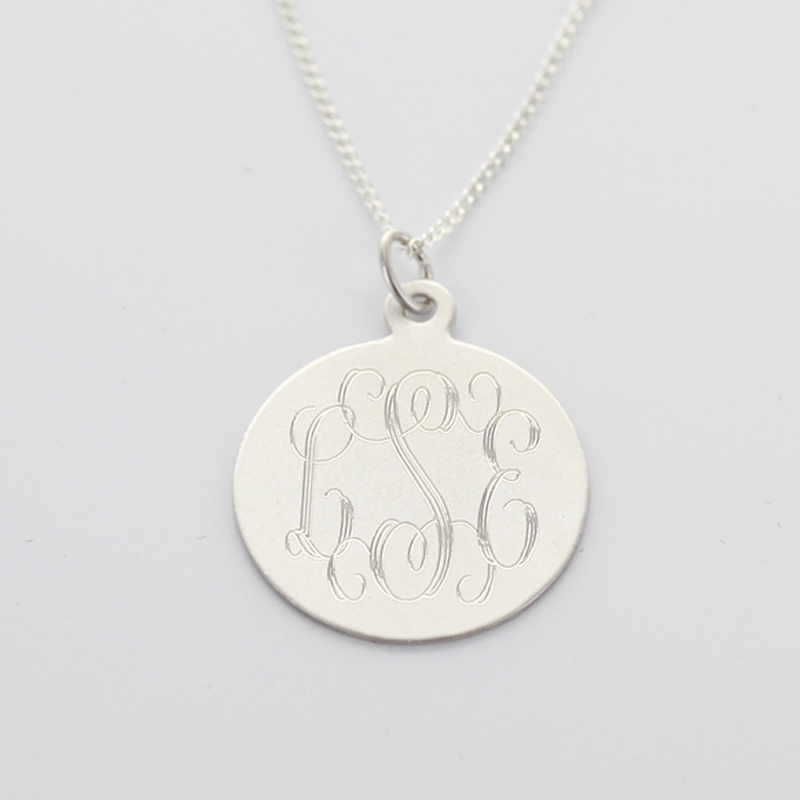 Sterling silver engraved monogram necklace w bail sterling silver engraved monogram necklace aloadofball Images
