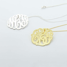 Sterling Silver Handmade Monogram Necklace/ back bail