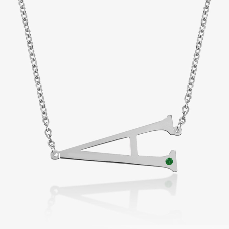 Sterling silver horizontal initial with birthstone necklace sterling silver horizontal initial necklace with birthstone aloadofball Image collections
