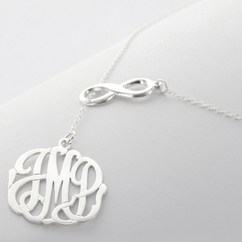 Sterling Silver Infinity Necklace with Monogram Pendant