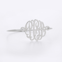 Sterling Silver Monogram Bangle