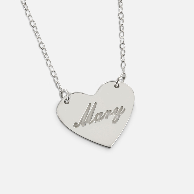 Silver personalized mini heart necklace sterling silver personalized mini heart necklace mozeypictures Images