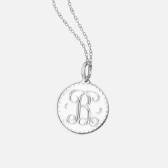 Sterling Silver Round Initial Necklace