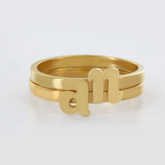 Sterling Silver Stackable Initial Ring