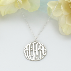 Traditional Silver Handmade Monogram Necklace