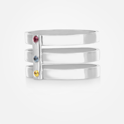 Triple Strap Ring with Birthstones