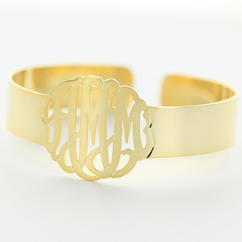Yellow Gold Over Silver Personalized Cuff Bangle