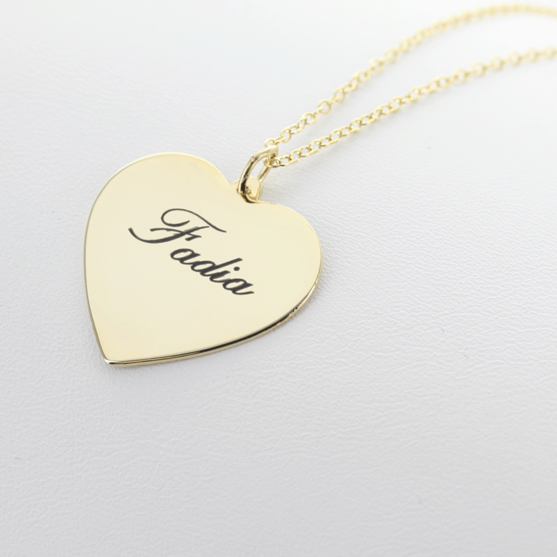 Yellow gold over silver personalized heart necklace aloadofball Gallery